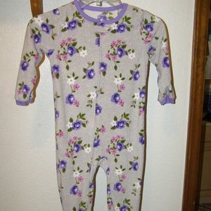 GIRLS ONE PIECE PAJAMA SIZE 4T GRAY PURPLE FLORAL